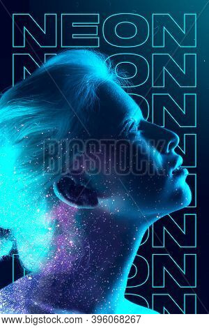 Stars At Night. Beauty And Fashion Concept, Trendy Neoned Poster With Beautiful Caucasian Woman. Tre