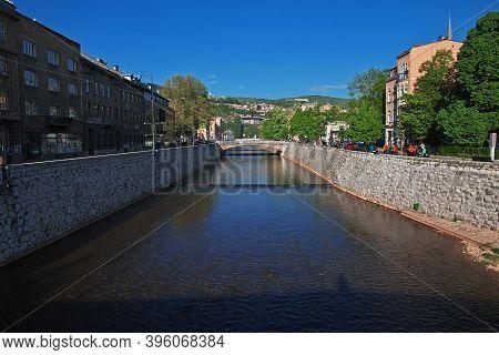 Sarajevo, Bosnia And Herzegovina - 28 Apr 2018: The River In Sarajevo City, Bosnia And Herzegovina