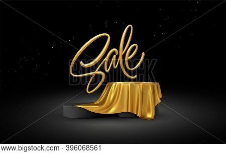 Realistic 3d Sale Gold Lettering With Product Podium Display Covered Golden Fabric Drapery Folds On