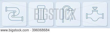 Set Line Industry Metallic Pipe, Shower, Industry Metallic Pipe And Industry Pipe And Valve. White S