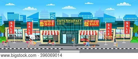 Buyers Are Going Out Of The Store With Purchases In Their Hands. Supermarket Sales And Discounts. Wo