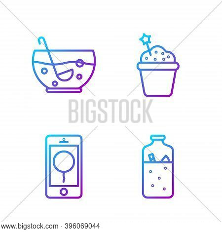 Set Line Mulled Wine, Mobile With Birthday Message, Mixed Punch In Bowl And Cake. Gradient Color Ico