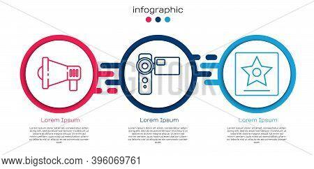 Set Line Megaphone, Cinema Camera And Hollywood Walk Of Fame Star. Business Infographic Template. Ve