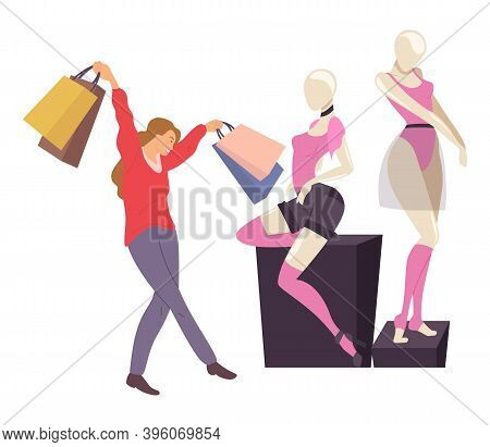 Character With Goods In Her Hands Near Mannequins. Smiling Woman With Shopping Bags. Young Beautiful