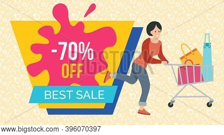 Woman With Bags For Purchases In The Shopping Cart. Promotion Of Sales And Discounts In The Shop. A