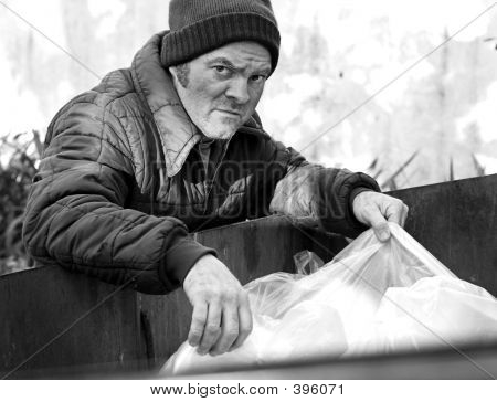 Homeless Man - Roots In Dumpster B&w