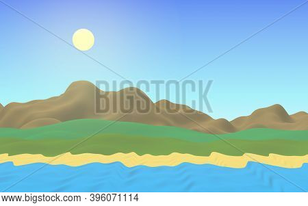 Sun Sea Beach. Noon. Ocean Shore Line With Waves On A Beach. Island Beach Paradise With Waves. Vacat