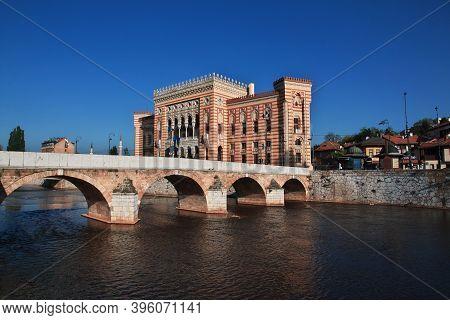 Sarajevo, Bosnia And Herzegovina - 29 Apr 2018: The Bulding In Sarajevo City, Bosnia And Herzegovina