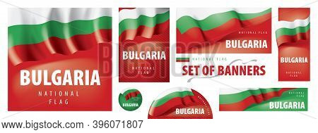 Vector Set Of Banners With The National Flag Of The Bulgaria