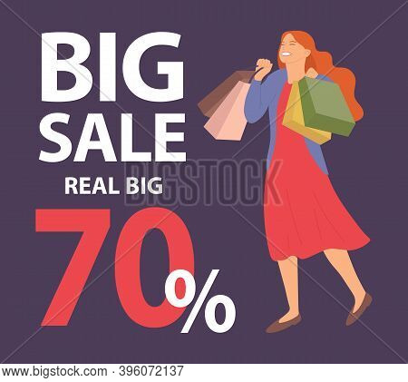 Announcement Of Seventy Percent Discounts. Girl With Shopping Bags In Her Hands Is Smiling Happily D