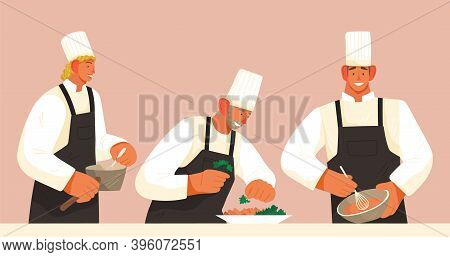 Chef And Cooks Prepare Dishes. Catering And Eating Out . Cook S Profession. Restaurant Menu. Sous Ch