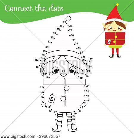 Christmas Elf. Connect The Dots. Dot To Dot By Numbers Activity For Kids And Toddlers. Children Educ