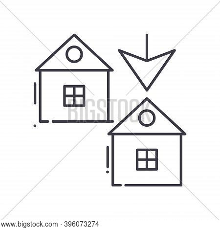 Duplex House Icon, Linear Isolated Illustration, Thin Line Vector, Web Design Sign, Outline Concept