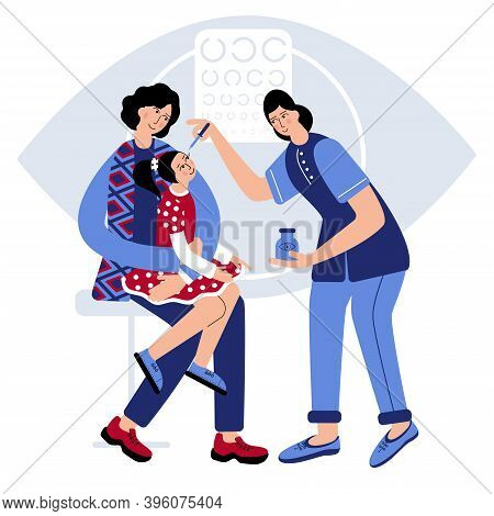 Girl Is Sitting On Mothers Lap And Mum Is Hugging Her, To Clam Dauther. Doctor Dip Medicine Into Gir