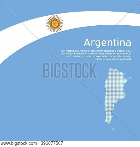 Abstract Waving Flag, Mosaic Map Of Argentina. Creative Background For Argentina Patriotic Holiday C