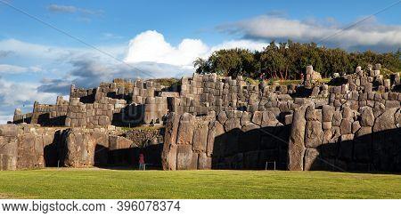 View Of Sacsayhuaman, Inca Ruins In Cusco Or Cuzco Town, Peru
