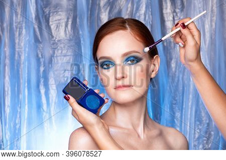 Beauty Fashion Portrait Of Red Hair Woman With Blue Smoky Eyes Makeup