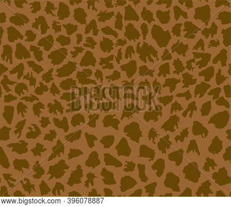 Vector Seamless Pattern Of The Abstract Rough Torn Spots. Golden-brown Patchy Grunge Texture