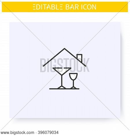 Home Alcohol Bar Line Icon. Mini Bar. Home Party, Celebration. Home Interior, Furniture. Cocktail Pa