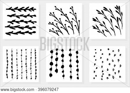 Set Of Six Simple Vector Different Patterns. Floral Textures Of Stems And Branches With Leaves And B