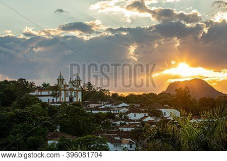 Sunset In The City Of Tiradentes With Streets, Alleys, Church And Colorful Colonial Houses - Minas G