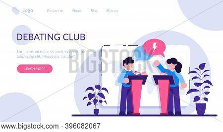 Debating Club Concept. Discussion Of Important Cases. Man Vs Woman Idea. Feminism Idea. People Polit