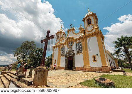 Tiradentes, Minas Gerais, Brazil – November 06, 2020: Matriz De Santo Antonio Church, Colonial City