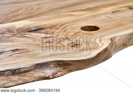 Live Edge Elm Countertop On White Background. Close-up
