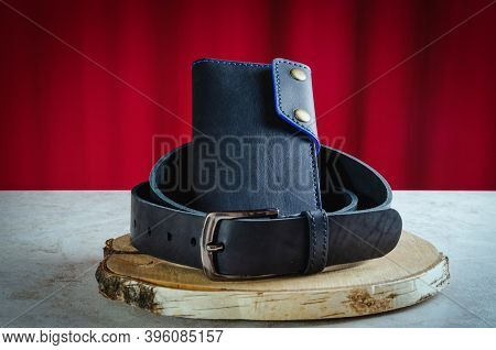 Mens Wallet Longer Made Of Genuine Black Leather Handmade On A Birch Cut Is Wrapped In A Classic Men