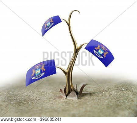 3d Illustration. 3d Sprout With Michigan Flag On White