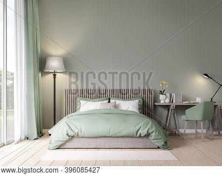 Bedroom In Pastel Green Color With Garden View 3d Render , The Room Has Wooden Floors, Empty Painted