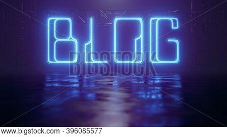 a neon light sign blog 3D illustration
