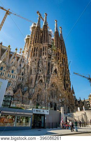 BARCELONA, SPAIN - OCT 17, 2020: La Sagrada Familia Church, Barcelona, Catalonia, Spain