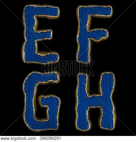 Set of alphabet letters E, F, G, H made of industrial metal blue color. Isolated black background. 3d rendering