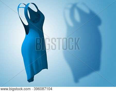 Conceptual fat overweight obese shadow female dress outfit vs slim fit healthy body after weight loss or diet thin young woman on blue. A fitness, nutrition or obesity health shape 3D illustration