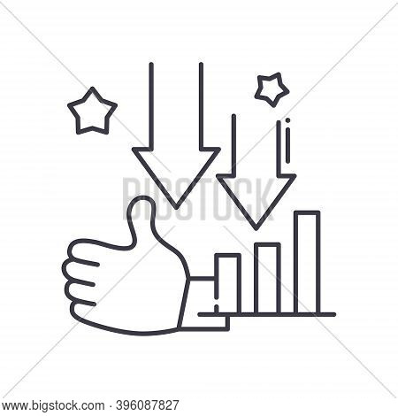 Downtrend Icon, Linear Isolated Illustration, Thin Line Vector, Web Design Sign, Outline Concept Sym