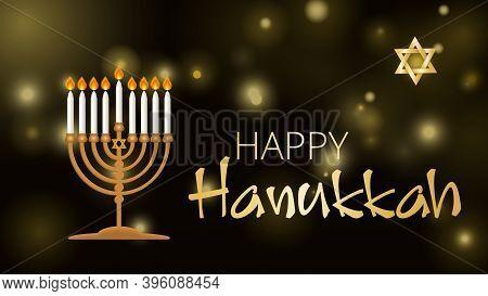 Hanukkah Shining Background With Menorah, David Star And Bokeh Effect. Happy Hanukkah Background. Tr