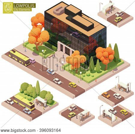 Vector Isometric Modern Office Building And Bus Stop. High-rise Office Buildings, Trees, Cars, Bus A