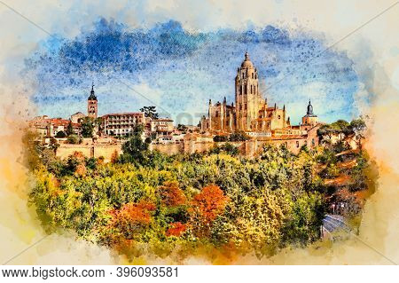 Segovia, Spain. View Over The Town With Its Cathedral And Medieval Walls. Color Pencil Sketch Illust