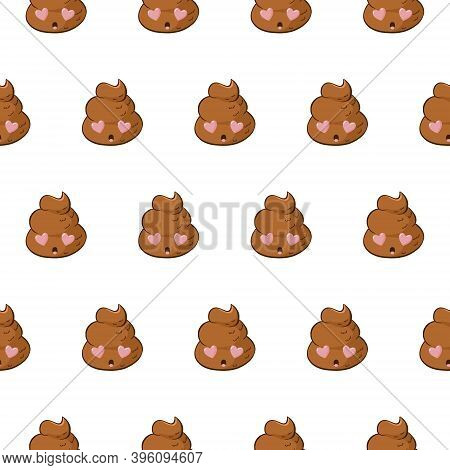 Funny Seamless Pattern With Poop Emoji In Love For Valentines Day Joke. Background With Kawaii Poo W