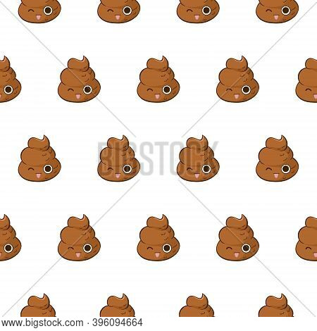 Funny Vector Seamless Pattern With Kawaii Poop Teasing And Showing A Tongue. Fun Background With Car