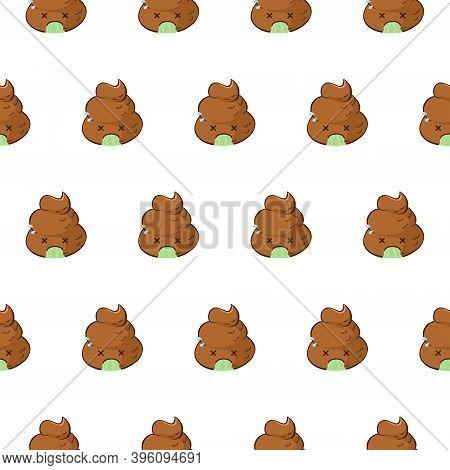 Funny Vector Seamless Pattern With Vomiting Emoji On White Background. Kawaii Poop Emoji Is Sick.
