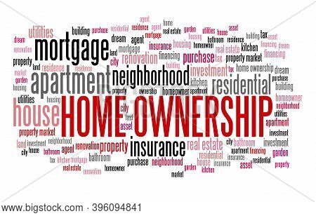 Home Ownership Concept. Real Estate Issues: Home Ownership Word Cloud Sign.