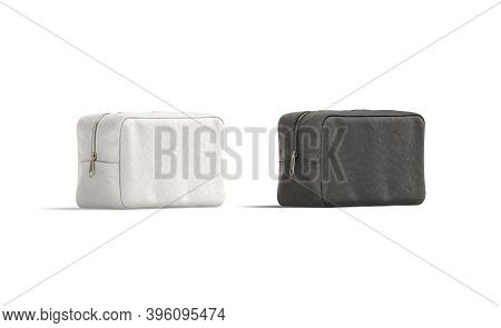 Blank Black And White Canvas Cosmetic Bag Mockup, Half-turned View, 3d Rendering. Empty Cotton Clutc