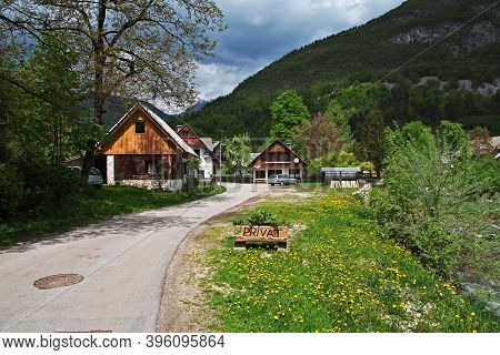 Stara Fuzina, Slovenia - 30 Apr 2018: Stara Fuzina In The Alps Of Slovenia