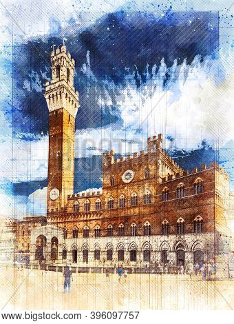 Palazzo Pubblico (town Hall) In Siena (tuscany, Italy) On A Bright Blue Sky. Sketch Style Illustrati