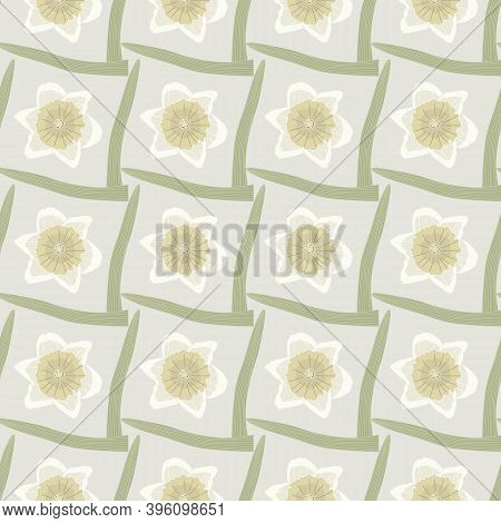 Vector Daffodil Flowers In Yellow Beige With Geen Leaves On Beige Background Seamless Repeat Pattern