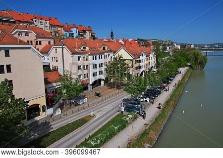 Maribor, Slovenia - 29 Apr 2018: Lent - The Oldest Part Of The City Of Maribor, Slovenia