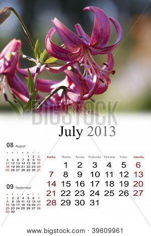 2013 Calendar. July