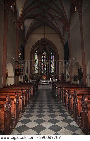 Maribor, Slovenia - 29 Apr 2018: Maribor Cathedral, Church Of St John The Baptis In Maribor, Sloveni